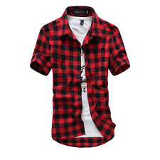 Men's Stylish Shirt Classic Plaid Check Slim Fit Casual Short Sleeve T Shirt Top