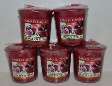 LOT OF 5 YANKEE LUSCIOUS PLUM VOTIVE CANDLE SAMPLERS HTF SMALL 1.75 OZ NEW