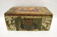 Beautiful Antique 19thC WALLPAPER LIDDED BOX Floral Motif SUN FIGURAL ~ AAFA