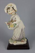 Giuseppe Armani Figurine Girl Carrying Flowers As Is WorldWide