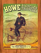 "TIN SIGN ""Howe Bicycle Tricycle"" Vintage Tire Garage Decor Shop"