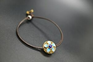 Lapis Lasuli Silver Plated Gold filigree Leather Bracelet For Her For Him