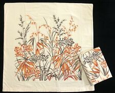 Vtg 1970's PAIR Floral & Leaf Orange Ivory 100% Cotton Euro Pillow Shams (RF998)