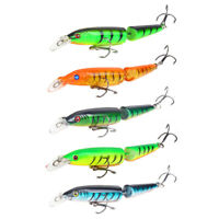 New 5pcs Plastic 10.5cm Double Section Bionic Bass Fishing Lures Crank Bait Hook