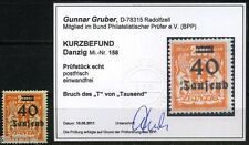 Danzig 40 Tsd./200M Wappen 1923** Aufdruckfehler Michel 158 Befund (S5363)