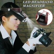 10X Magnifying Lens Glass Head Magnifier LED Light Work Loupe for Jewel Repair