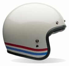 BELL PEARL WHITE CUSTOM JET 500 STRIPE MOTORCYCLE OPEN FACE SAFETY CRASH HELMET