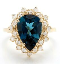 5.05 Carat Natural London Blue Topaz and Diamonds in 14K Solid Yellow Gold Ring
