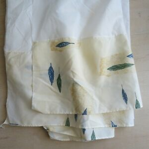 Wamsutta King Size Bed Skirt Beige Blue Green Feathers Vintage USA