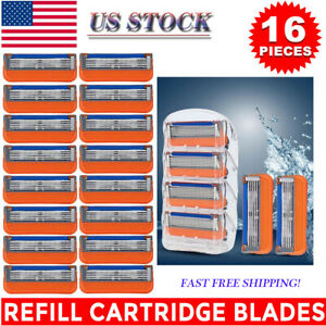 New 16PCS for Gillette Fusion 5-Layer Men's Razor Blade Refills Orange US