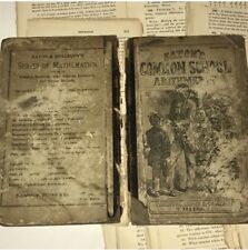 Victorian 1878 Math Text Book Cover Loose Pages Scrapbook Art Collage Supplies
