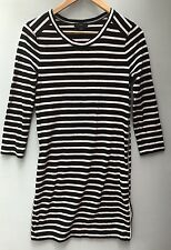 J Crew Dress XS Striped Side Zip Tunic 0 2 Black White Cotton Above Knee