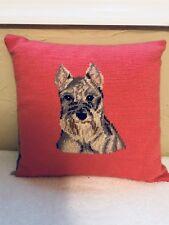 "Schnauzer Dog Needlepoint Pillow 13""x 12"""