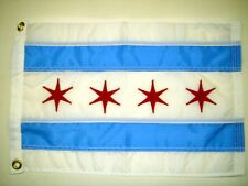 "City of Chicago IL Indoor Outdoor Sewn Nylon Boat Flag Grommets 12"" X 18"""