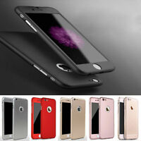 360° Full Hybrid Tempered Glass+Acrylic Hard Case Cover For iPhone 5 6 & 6S Plus