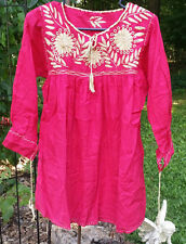 Maya Mexican Blouse Top Shirt Embroidered Floral Chiapas Small Pink Beige 122