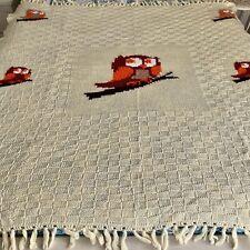 Retro Afgan 70s Owls Knitted Throw Blanket Vintage Handmade