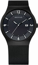 Brand New Bering Classic Men's Black Mesh Solar Watch 14440-222