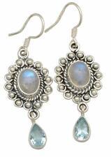 Rainbow Moonstone, Blue Topaz Gemstone Earrings Solid 925 Silver Jewelry IE18223