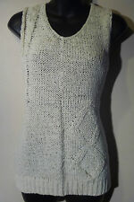Sweater Large Mark Alan White Ribbon Weave Sleeveless Long Vest Tank NWT G903