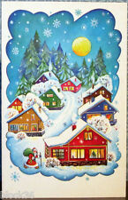 1986 Russian folding NEW YEAR postcard Evening... Santa walks in the village...