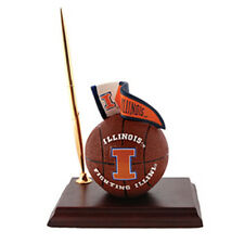 Illinois Fighting Illini Mascot Desk Set Pen Clock Basketball License College