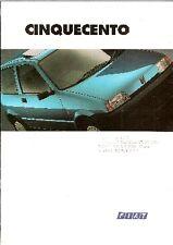 Fiat Cinquecento 1993-94 UK Market Sales Brochure 900 S & SX