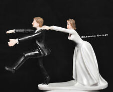 Wedding cake topper Bride and Groom figurine Humor Funny Unique pulling groom