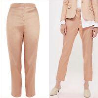 Topshop Pink Peach Metallic Crop Cigarette Trousers Size 12 14 US 8 10 Blogger ❤