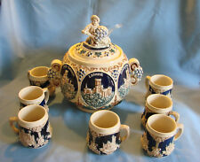 Bowle Set Burgen - Bowlegefäß 3,5 Liter mit 7 Bechern und Schöpfer von 1932 TOP