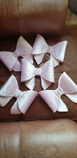 """Baby pink christmas Tree Velvet Bow Decorations 8"""" set of 5"""