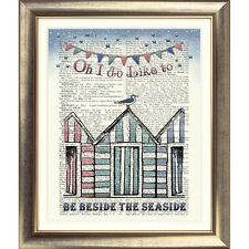 ART PRINT ON ORIGINAL ANTIQUE BOOK PAGE Beach Huts Vintage Sea Seaside Seagull