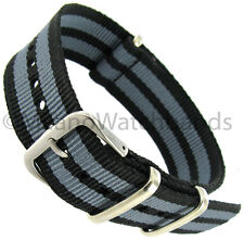 20mm Milano Nylon Fabric Canvas Black and Grey Military Army Watch Band Strap