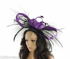 Purple/Black Fascinator Hat for weddings/ascot/proms P2