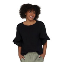 Vince Camuto Drop Shoulder Slub Knit Ruffle Sleeve Blouse - Rich Black - Large