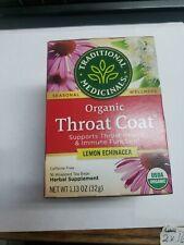 2TRADITIONAL MEDICINALS ORGANIC THROAT COAT LEMON ECHINACEA 16 TEA BAGS 1.13 OZ