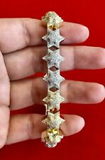 925 STERLING SILVER Mens 14K Gold Finish FIVE POINT STAR Hand Set Fancy Bracelet