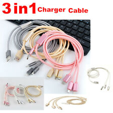 3 in 1 Long Multi USB Charger Charging Sync Braided Cable Lead Fit For iPhones