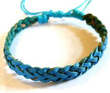Bracelet Brésilien en Cuir Amitié Friendship Bonheur Leather bleu turquoise