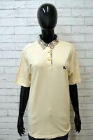 Polo BURBERRY Donna 46 Maglia Manica Corta Shirt Woman Jersey Frau Cotone Beige