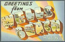 Wells Beach Maine - 1940s large letter style postcard - unused