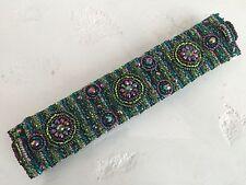 Czech GLASS Bead PEACOCK COLORS Bracelet Cuff Bangle Shamballa Guatemala