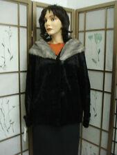 MINT BLACK FAKE IMITATION OF FAUX FUR JACKET COAT WOMEN WOMAN SIZE 8 MEDIUM