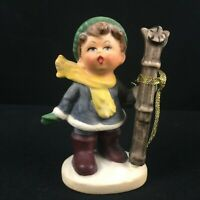 "VTg Figurine 3 3/4"" Napcoware Boy Holding a Pair of Skies C7653 Made in Japan"