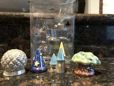 Vintage Disney Salt & Pepper Shakers 4 Parks ( Rare Set w/Sorcerers Hat!)