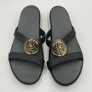 Crocs Slip On Sandal Women's Size 10 Medallion Black Gray