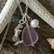 Made in Hawaii, Pink Sea glass necklace,Mermaid charm,Natural pearl,925 SS