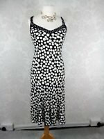 M&S Per Una ladies size 12 fit and flare dress black with white spots #c