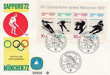 Olympische Spiele 1972 Sapporo + München Offizieller Ersttagsbrief d. Bundespost