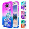 For Samsung Galaxy S6 Active Case | Liquid Glitter Bling Cover w/ Tempered Glass